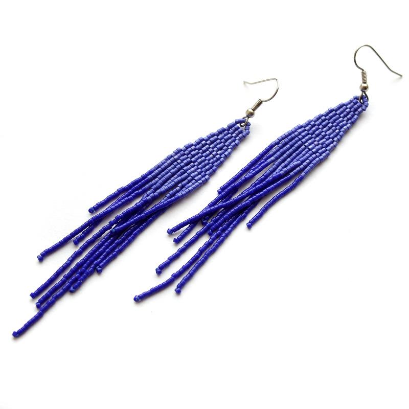 купить бисерные серьги синего цвета в этническом стиле