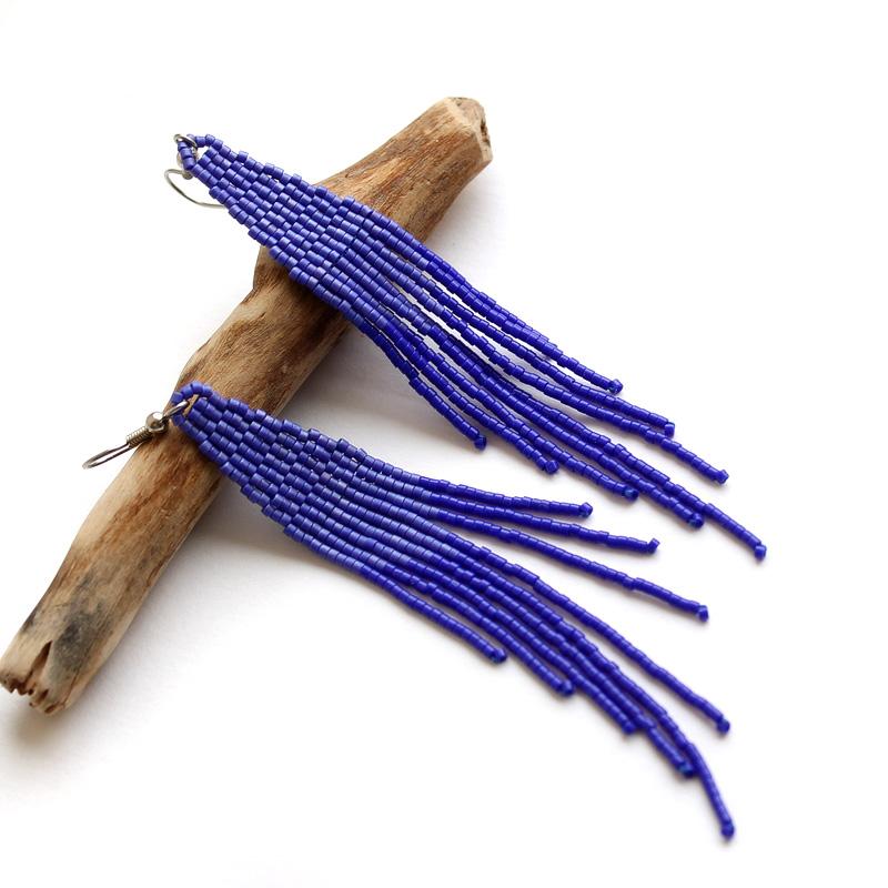 купить синие серьги-кисточки из бисера в стиле бохо