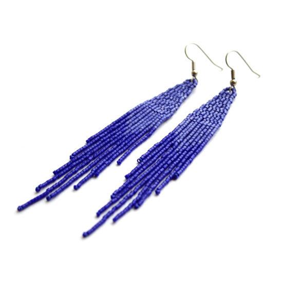 длинные серьги-висюльки в синем цвета купить украшения из бисера россия