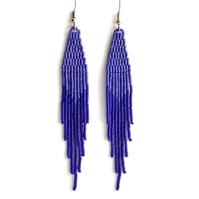 купить висячие серьги синие бижутерия из бисера