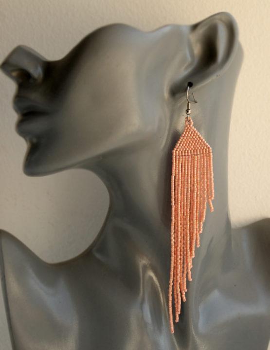 купить красивые висячие серьги пастельно оранжевого пудрового цвета