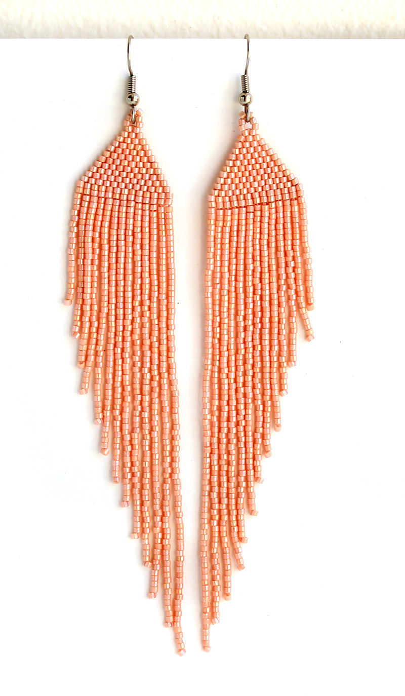 купить красивые длинные серьги из бисера ручной работы