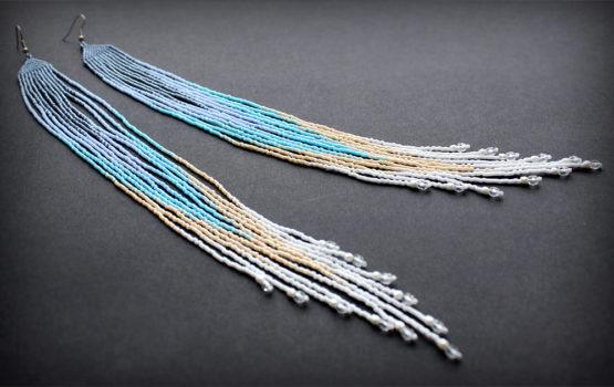 купить очень длинные серьги ручной работы из бисера