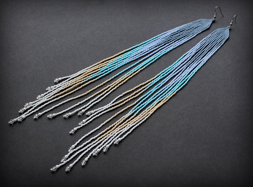 массивные длинные серьги