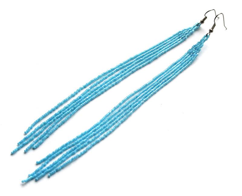 купить длинные висячие серьги голубого цвета бисера