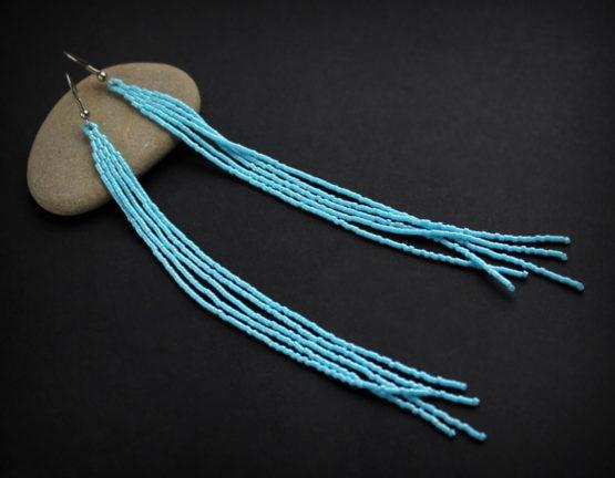 купить висячие голубые серьги в интернет магазине бижутерии