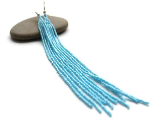 купить длинные серьги висюльки голубого цвета россия цена