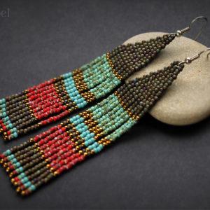 бисерные сережки в стиле бохо купить