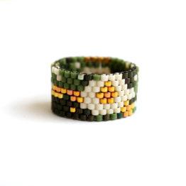 Купить стильное авторское кольцо из бисера необычные кольца для женщин размер 17
