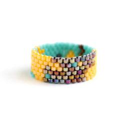 купить молодежное женское кольцо 16 размера в интернет магазине авторской бижутерии из бисера