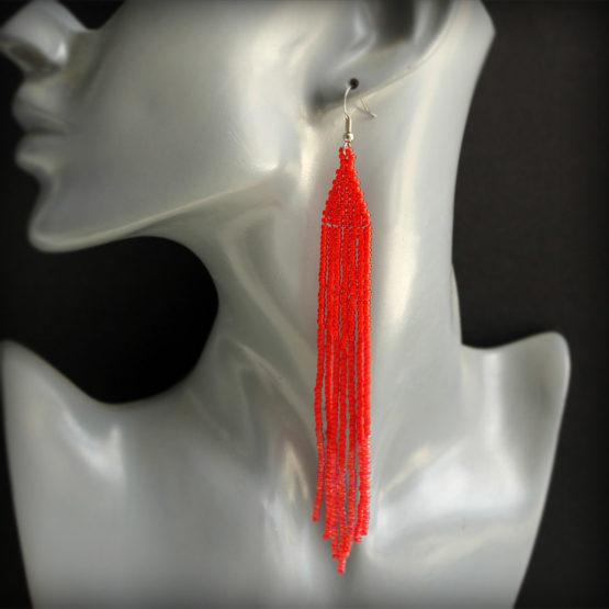 длинные красные серьги бижутерия купить