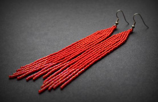 длинные красные серьги вечерние