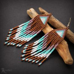 купить длинные серьги из бисера в этническом стиле коричневые цветные