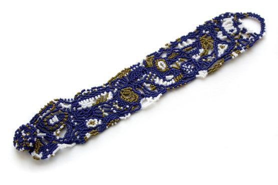 купить браслет на запястье 16 см синий бисерный браслет