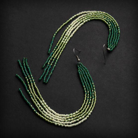 купить длинные зеленые сережки из бисера россия доставка онлайн
