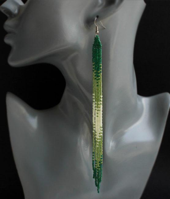 купить очень длинные висячие зеленые серьги бижутерия из бисера