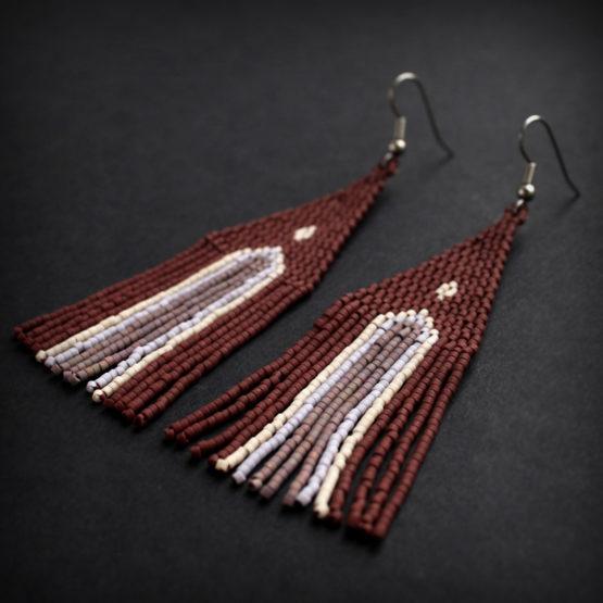купить Интересные серьги из японского бисера под короткую стрижку