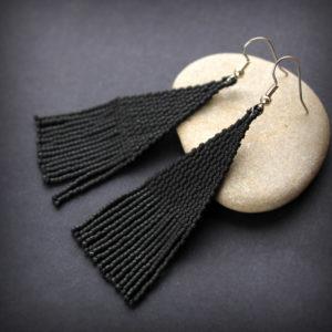 купить длинные черные серьги из бисера в интернет магазине бижутерии россия