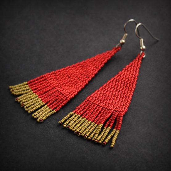 купить красные серьги из бисера молодежный стиль бижу
