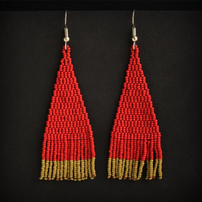 купить Тёмно-красные молодежные серьги из бисера