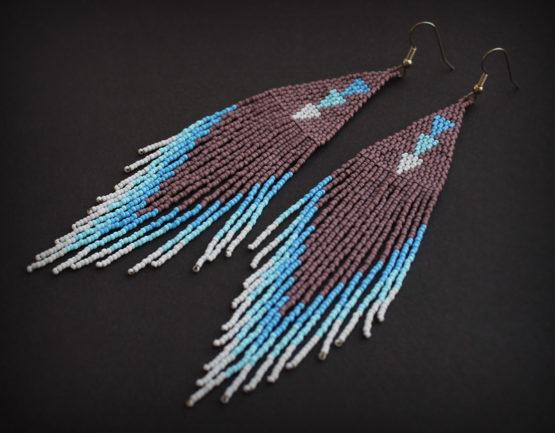 Купить крупные длинные серьги в этническом стиле в интернет-магазине Украшения от Anabel