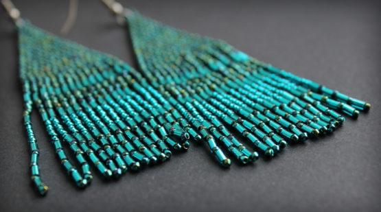 купить сине-зеленые серьги из бисера бижутерия бохо