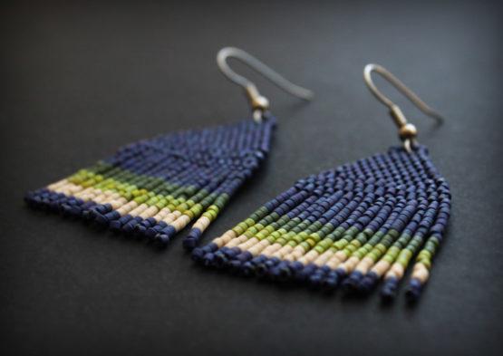 синие бисерные серьги в этническом стиле купить