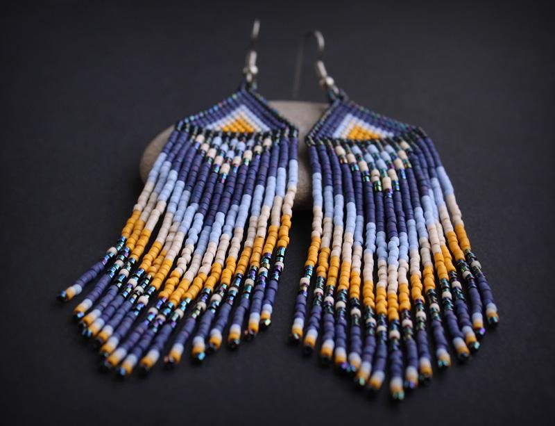 купить этнические украшения из бисера ручной работы серьги