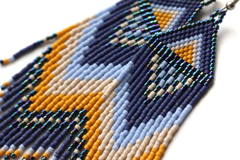 купить авторская бижутерия ручной работы синие с желтым серьги из бисера
