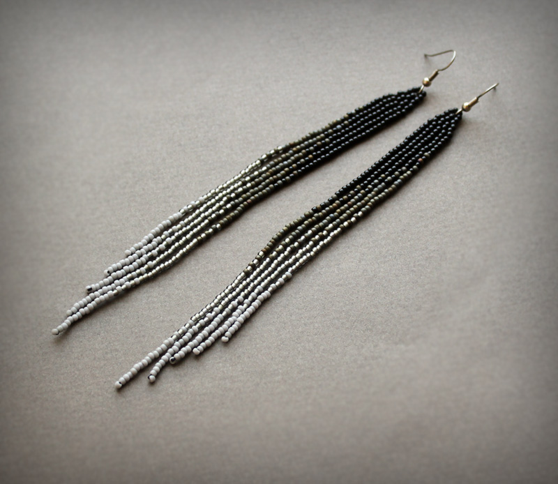 купить длинные серьги из бисера