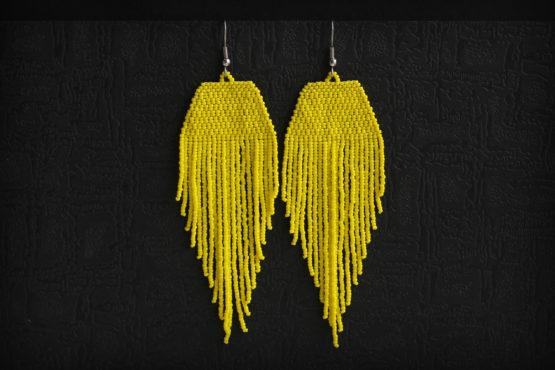 желтые серьги бижутерия из бисера купить серьги длинные висячие