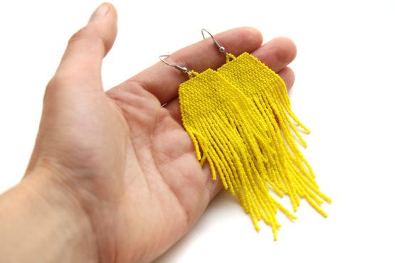 желтые серьги ручная работа идеи креативных подарков на день рождения подруге