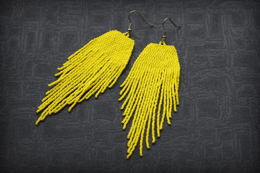 купить серьги желтые длинные современные сережки в стиле бохо