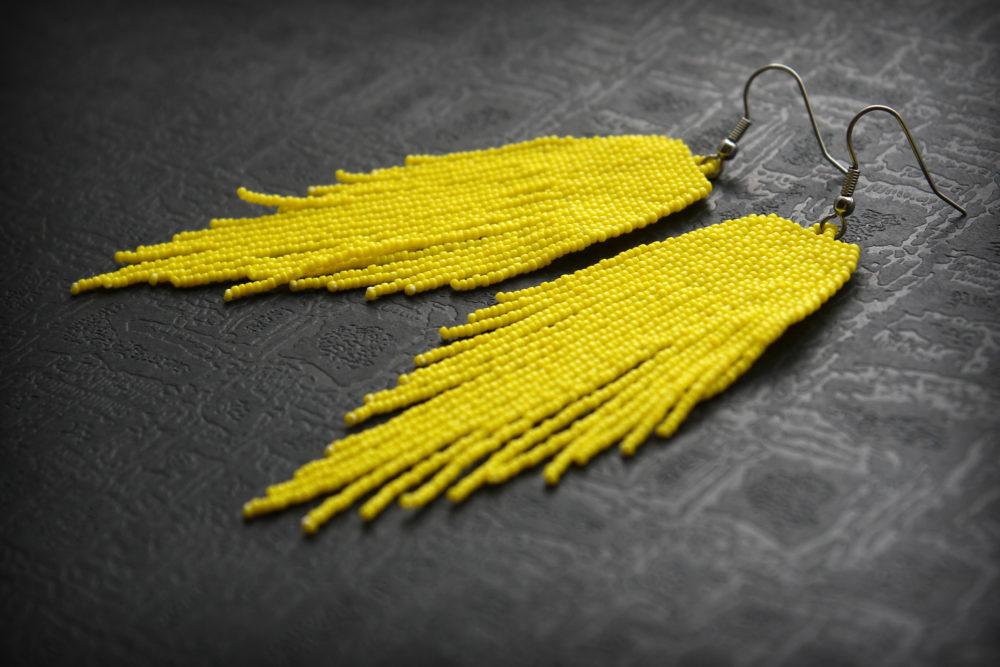 желтые серьги висячие бисерные серьги в этническом стиле