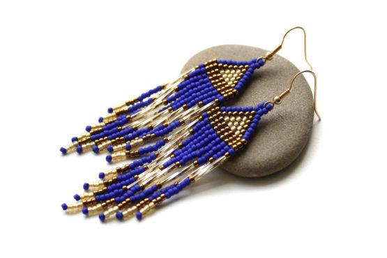 сине-золотые серьги из бисера