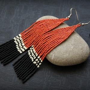 серьги бижутерия терракота с черным купить украшения из бисера