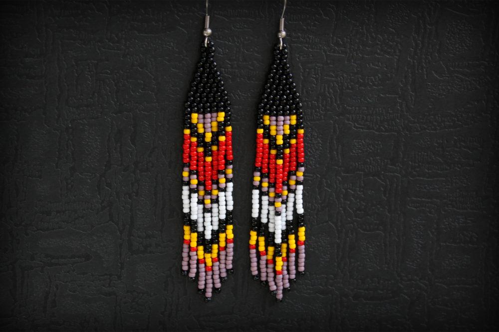 авторские украшения из бисера купить серьги в стиле этно