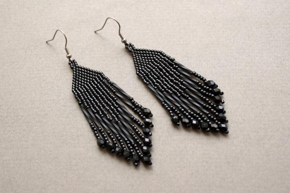 черные украшения черные висячие серьги купить