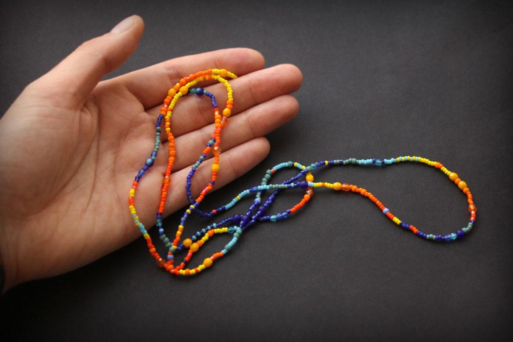 купить колье ожерелье из бисера эксклюзивное украшение на шею