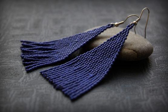 синие серьги кисточки из бисера оригинальный подарок дочери