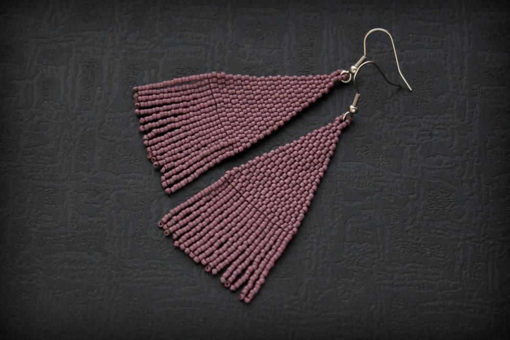 купить серьги кисточки из бисера ручной работы бохо стиль