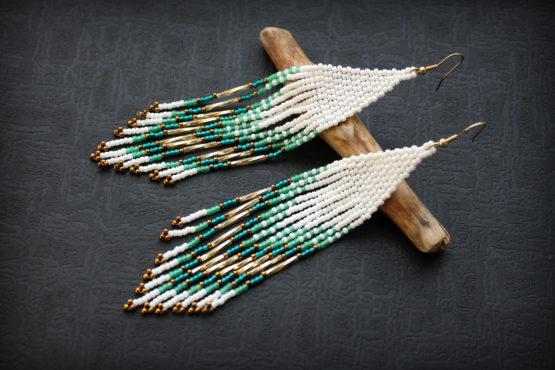 украшения в стиле хиппи купить серьги из бисера