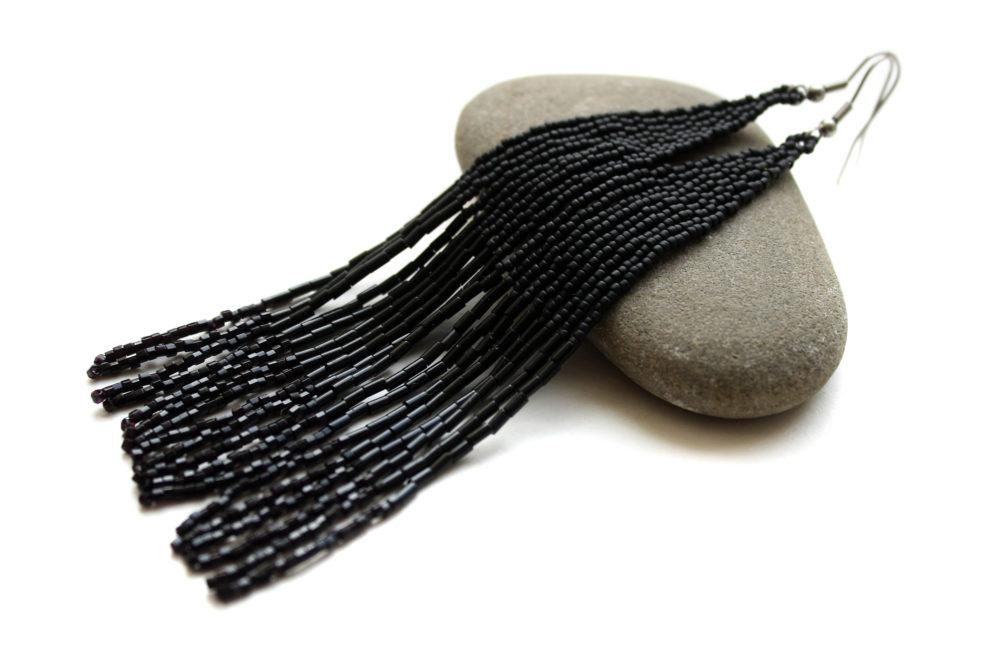 длинные черные серьги фото