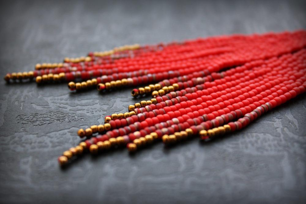 серьги красный цвет