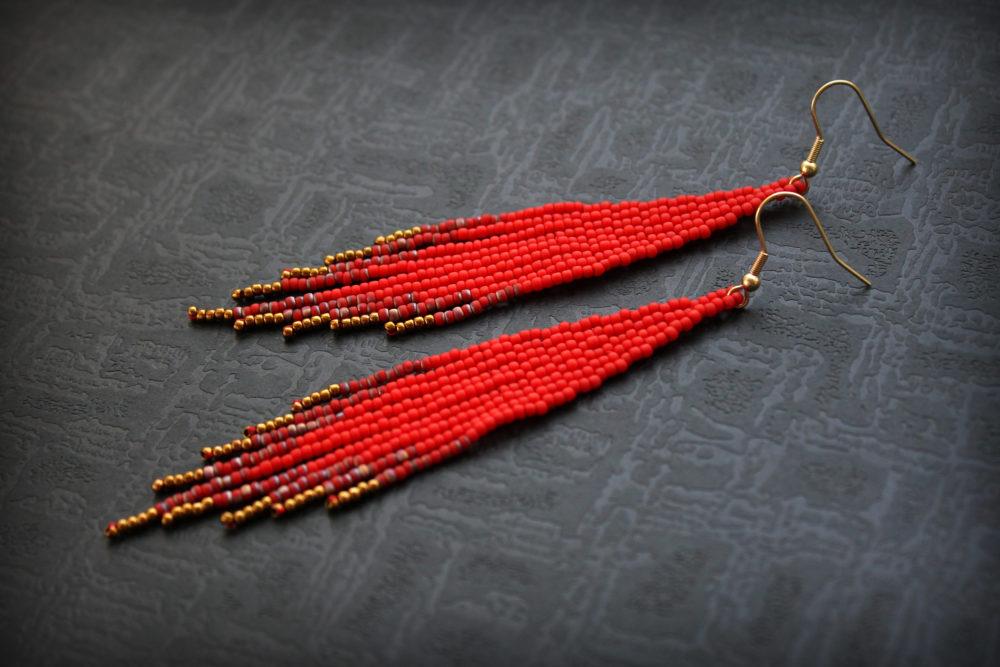 красные серьги купить бисерные сережки