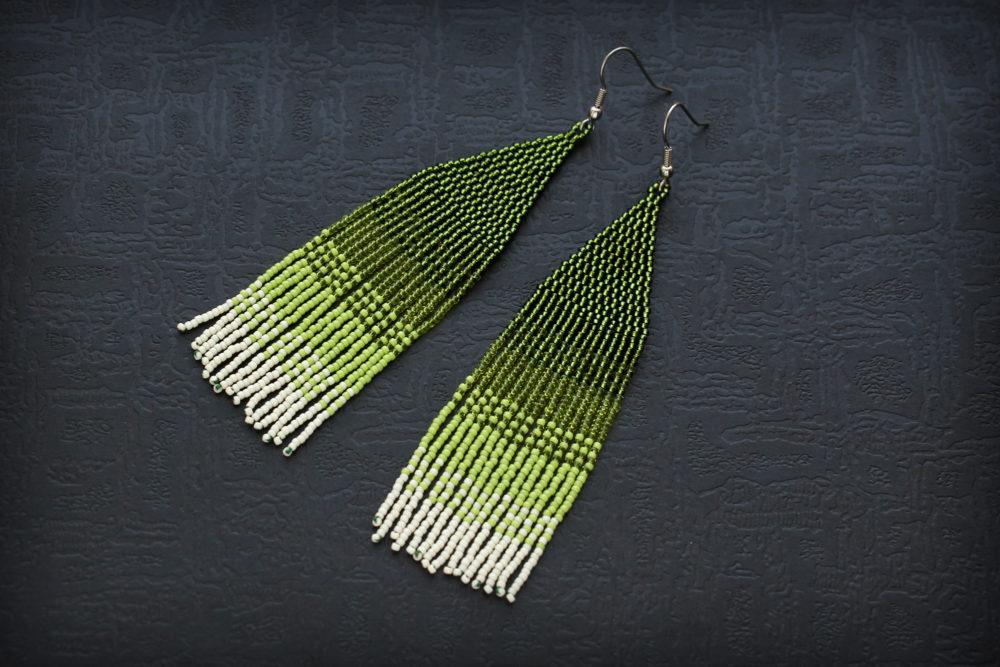 серьги зеленые бижутерия серьги длинные зеленые