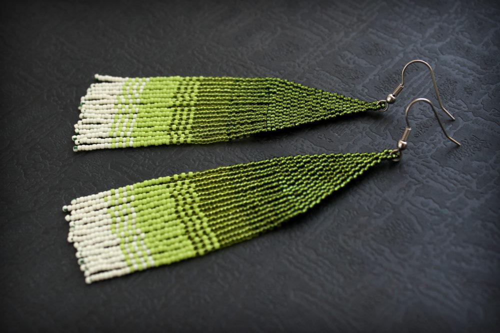 большие зеленые серьги эльфийская бижутерия