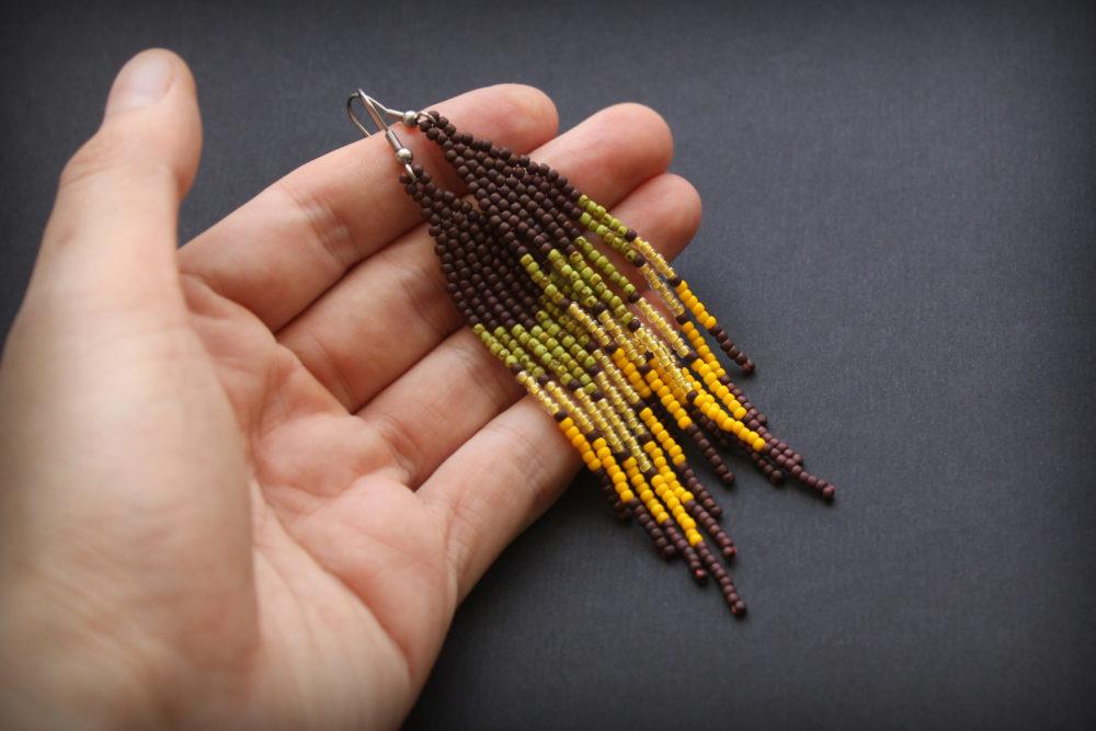 Серёжки ручной работы в стиле этно
