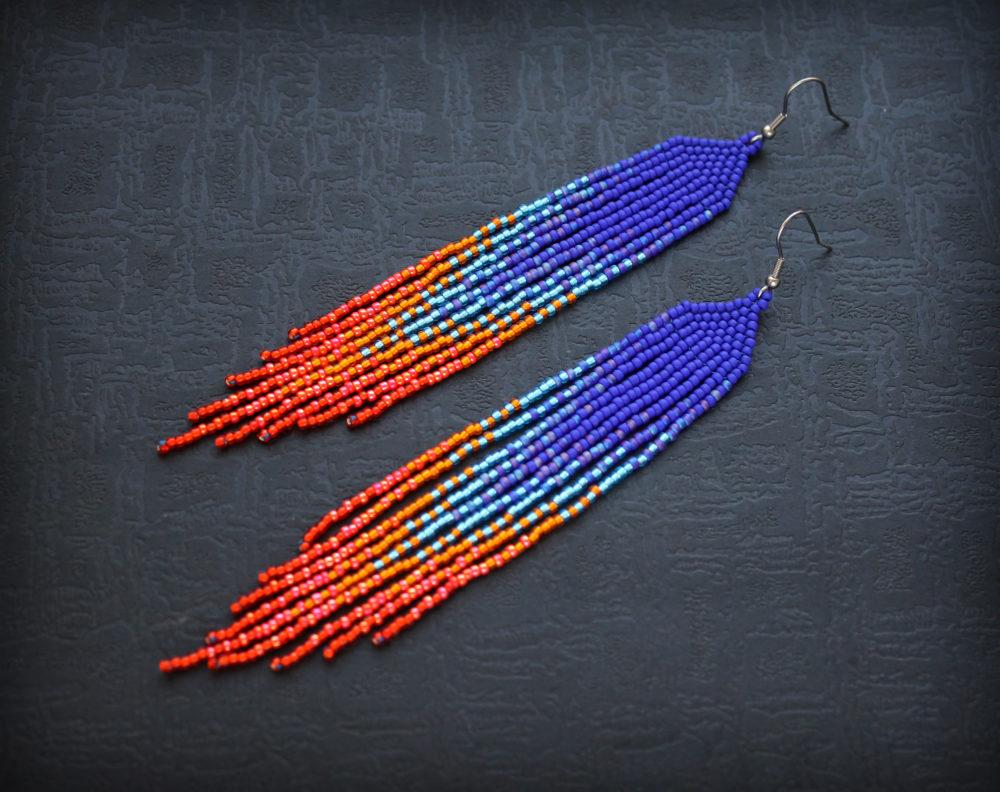 купить длинные сережки из бисера