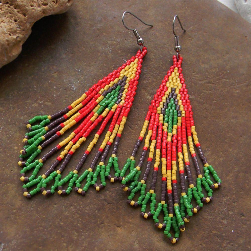 длинные сережки из бисера в восточном стиле
